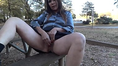 Wife Masturbating outside on park bench