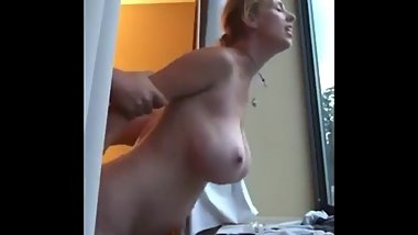 Busty mature stepmom fucked by stepson in hotel window