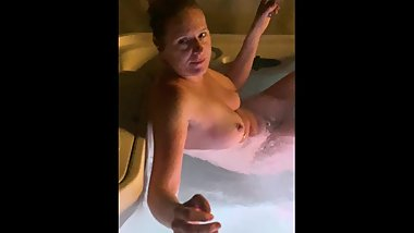 Mom in hot tub all naked teasing stepson