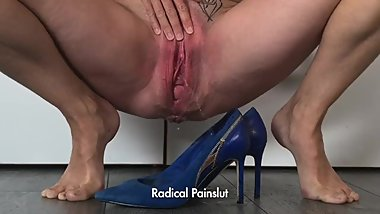 Submissive Painslut Squirts in her High Heel Shoes before going to Work