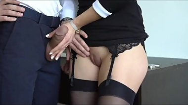 Gorgeous secretary with tight pussy made her new boss cum