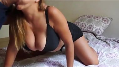 Busty and sexy MILF gives hot deepthroat blowjob her ex