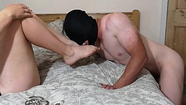 Chastity Release - Hubby has orgasm ruined from dry foot job