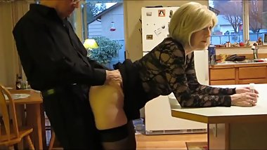 Mature stepmom gets anal creampie from her stepson in the kitchen