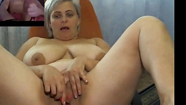 Chubby blonde milf plays on webcam with young boy part 4