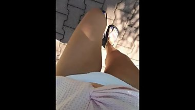 Public park desperation, peeing bikini female POV