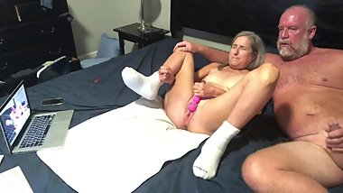 Hot Milf Masturbates While Hubby Strokes His Cock