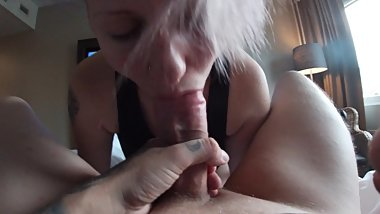 Great POV action with bubble butt girl, tattooed dude drinking his own cum!