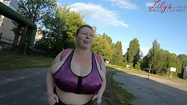 big tits running in sports bra