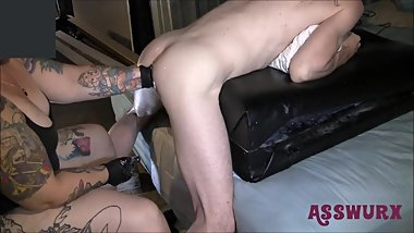 Tattooed Milf Bends Him Over And Gives Him A Rough Fisting