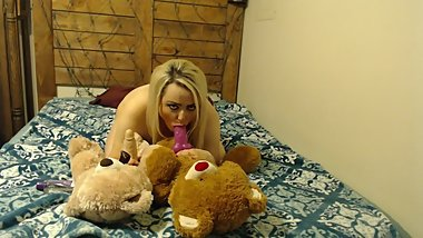 Kady fucks two of her favorite stuffed teddys