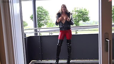 Blonde German in Black Puffy Jacket and Fur Hood Sex