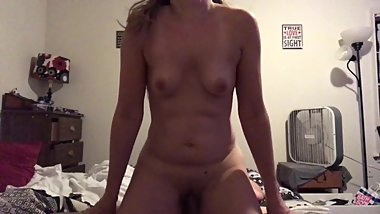 amateur wife bouncing small tits while riding cock