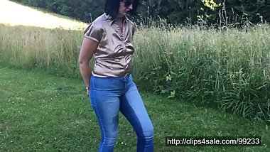 Handcuffed Angela in wet tight jeans