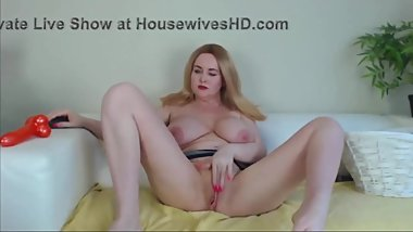 Squirting blonde MILF with big boobs toying both holes