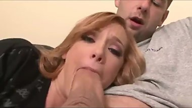 Naughty mother trying to suck her stepson's monster cock
