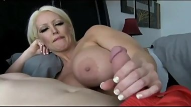 Naughty cougar mother with big tits seduces and fucks her real 18yo stepson