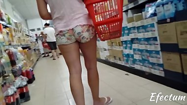 sexy mom in shorts at the market