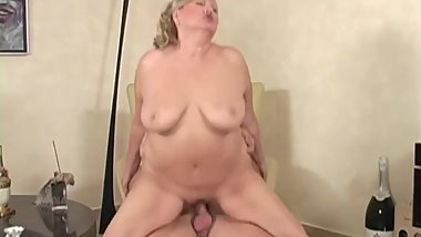 Beautiful Blonde Chubby Granny Fucks