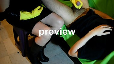 preview: milf rubber gloves handjob, cum explosion, leather skirt boots