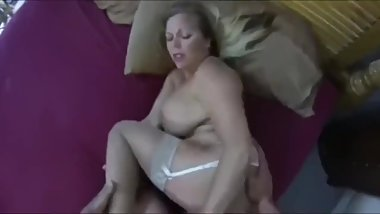Son fucks his busty and hairy stepmother and cums inside
