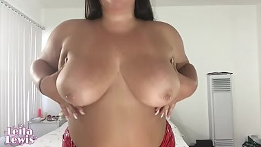 BBW Goddess Strip Tease in Red Latex and Rides Your Cock