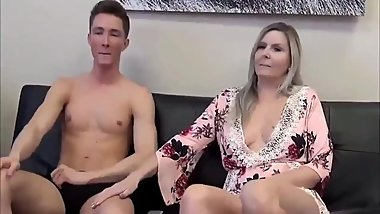 Son with big cock cums inside his sexy busty stepmother on sofe