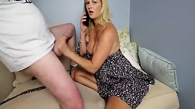 My bother sucks her ex husband's cock while phone talking to daddy