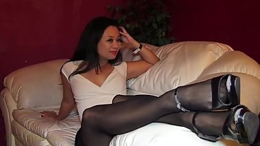 Asian Milf Model Stockings Feet Teasing
