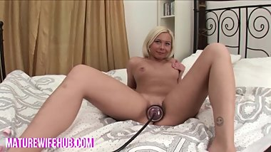 Blonde Wife Pussy Pump and Anal Fist Part 1 www.maturewifehub.com
