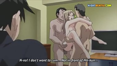 Hentai uncensored  guys fuck the busty wife in front of her husband