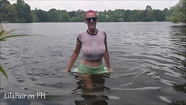 Beach adventure with MILF Lila Fair - Public masturbation - huge boobs