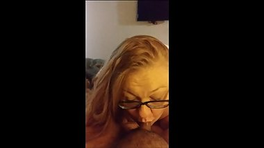 Ginger BBW sucks cock while hubby is at work