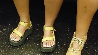 Candid ebony feet thick sole sandals 2