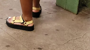 Candid ebony feet thick sole sandals