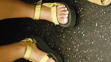 Candid ebony feet thick sole sandals 3