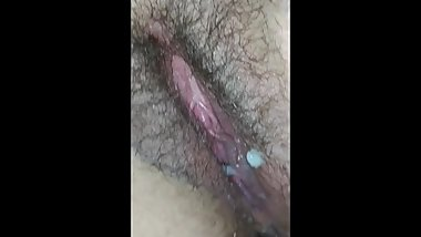 Creampied pussy farts huge load of cum close up dripping MILF snatch