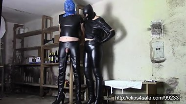 Perverse games of leather couple ... hand over mouth and plastic bag