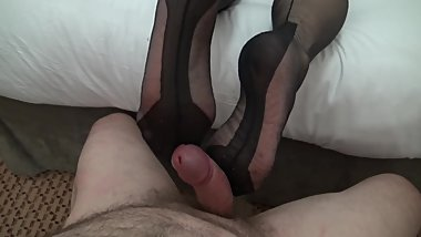 my wifes lovely legs and feet footjob 2