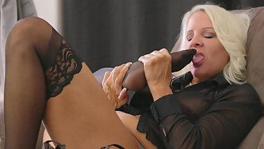 Blonde MILF Black Stocking Self Toe Suck