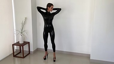 PVC Catsuit Erotic Moment with Oil