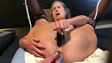 Hot Milf Masturbates With Black Rabbit and Anal Beads Mature Granny 60 year