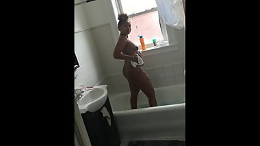 Naked redbone in shower
