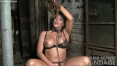 Sexy Fit Brunette Masturbates in Chains in the Dungeon