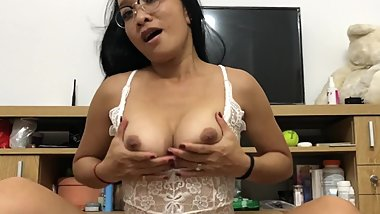 Asian Nerd In Glasses Masturbating Her Wet Pussy