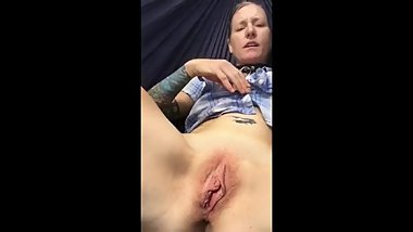 Real Cougar Plays With Her Pussy Outside