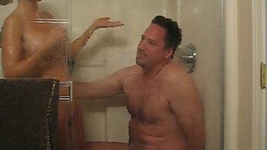 Debbie getting clean in the shower