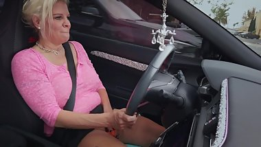 Toying My Pussy While Driving Car In Public With Oblivious Friend