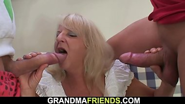 Boozed blonde grandmother swallows two big cocks