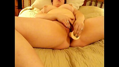 Chubby Hairy Wife Makes Her Pussy Squirt With A Dildo